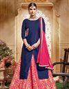 image of Gorgeous Pink Color Banarasi And Jacquard Sharara Top Lehenga With Beautiful Work