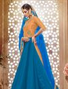 picture of Blue Color Marvelous Silk Fabric Sharara Top Lehenga With Fancy Work