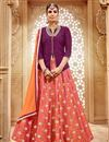 image of Marvelous Orange And Pink Color Designer Banarasi And Jacquard Sharara Top Lehenga