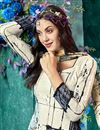 photo of Off White Color Crepe Fabric Fancy Printed Salwar Kameez