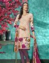 image of Crepe Fabric Printed Daily Wear Chikoo Color Salwar Kameez