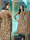 image of Casual Wear Printed Salwar Kameez In Crepe Fabric Dark Beige Color
