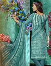 photo of Printed Dark Teal Color Crepe Fabric Office Wear Salwar Kameez