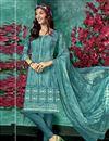 image of Printed Dark Teal Color Crepe Fabric Office Wear Salwar Kameez
