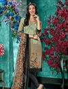 image of Dark Beige Color Crepe Fabric Daily Wear Salwar Kameez With Printed