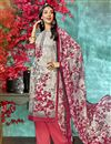 image of Printed Office Wear Salwar Suit In Crepe Fabric Off White Color