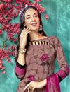 photo of Burgundy Color Daily Wear Printed Salwar Suit In Crepe Fabric
