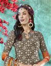 photo of Dark Beige Color Crepe Fabric Daily Wear Printed Salwar Suit