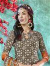 photo of Dark Beige Color Crepe Fabric Daily Wear Printed Salwar Suit