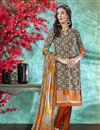 image of Dark Beige Color Crepe Fabric Daily Wear Printed Salwar Suit