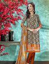 image of Dark Beige Color Crepe Fabric Daily Wear Printed Salwar Suit