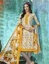 image of Crepe Fabric Beige Color Printed Fancy Casual Wear Salwar Suit