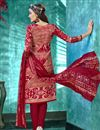 photo of Red Color Crepe Fabric Printed Daily Wear Straight Cut Salwar Kameez