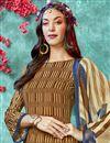 photo of Brown Color Crepe Fabric Function Wear Printed Straight Cut Salwar Kameez