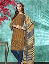 image of Brown Color Crepe Fabric Function Wear Printed Straight Cut Salwar Kameez