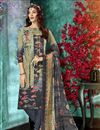 image of Dark Beige Color Daily Wear Printed Salwar Suit In Crepe Fabric