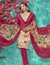 photo of Crepe Fabric Cream Color Office Wear Printed Salwar Suit