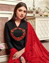 photo of Cotton Fabric Black Casual Wear Embroidered Designer Straight Cut Suit