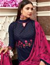 photo of Embroidered Cotton Fabric Designer Casual Wear Straight Cut Suit In Navy Blue