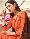 photo of Orange Casual Wear Designer Embroidered Straight Cut Suit In Cotton Fabric