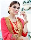 photo of Scrupulously Embroidered Designer Peach And Beige Color Georgette And Net Saree