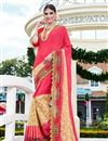 image of Scrupulously Embroidered Designer Peach And Beige Color Georgette And Net Saree
