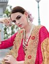 photo of Festive Wear Designer Georgette And Net Fabric Pink And Beige Color Saree With Banglori Silk Unstitched Blouse