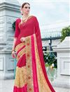 image of Festive Wear Designer Georgette And Net Fabric Pink And Beige Color Saree With Banglori Silk Unstitched Blouse