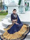 photo of Navy Blue And Beige Color Festive Wear Embroidered Designer Saree In Georgette And Net Fabric