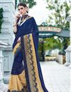 image of Navy Blue And Beige Color Festive Wear Embroidered Designer Saree In Georgette And Net Fabric