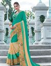 image of Designer Georgette And Net Party Wear Saree With Embroidery In Green And Beige Color
