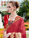 photo of Party Wear Tempting Maroon And Beige Color Designer Saree With In Georgette And Net Fabric Embroidery Work