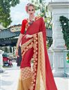 image of Party Wear Tempting Maroon And Beige Color Designer Saree With In Georgette And Net Fabric Embroidery Work