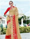 image of Beige Color Georgette And Net Party Wear Designer Saree With Unstitched Blouse