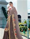 image of Festive Wear Designer Georgette And Net Fabric Grey Color Saree With Banglori Silk Unstitched Blouse