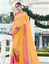 image of Festive Wear Designer Chiffon And Net Fabric Yellow Color Saree With Banglori Silk Unstitched Blouse