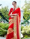 image of Red Color Festive Wear Embroidered Designer Saree In Chiffon And Net Fabric