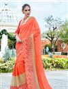 image of Party Wear Tempting Orange Color Designer Saree With In Georgette And Net Fabric Embroidery Work