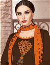 photo of Function Wear Brown Fancy Cotton Embroidered Salwar Kameez