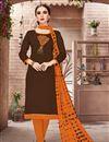 image of Function Wear Brown Fancy Cotton Embroidered Salwar Kameez