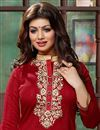 photo of Ayesha Takia Long Length Bhagalpuri Salwar Kameez in Red Color with Lace Work