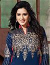 photo of Designer Party Wear Navy Blue Color Bhagalpuri Salwar Kameez