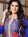photo of Blue Color Designer Party Wear Bhagalpuri Dress Material