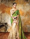 image of Attractive Green And Cream Color Party Wear Silk And Net Designer Saree