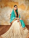 photo of Party Wear Cyan And Cream Color Beautifully Embroidered Designer Silk And Net Saree