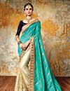 image of Party Wear Cyan And Cream Color Beautifully Embroidered Designer Silk And Net Saree