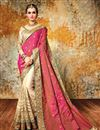image of Alluring Silk And Net Fabric Pink And Cream Color Designer Party Wear Saree With Embroidery Work