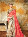 image of Designer Peach And Cream Color Party Wear Saree With Silk And Net Blouse