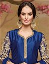 photo of Designer Blue Color Embroidered Banglori Silk Fabric Salwar Suit