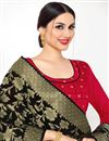 photo of Fancy Fabric Red Color Festive Wear Lace Work Suit With Banarasi Dupatta